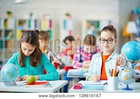 Studying in school