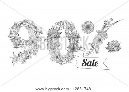 ninety (90) percents sale. Vector floral linear digits