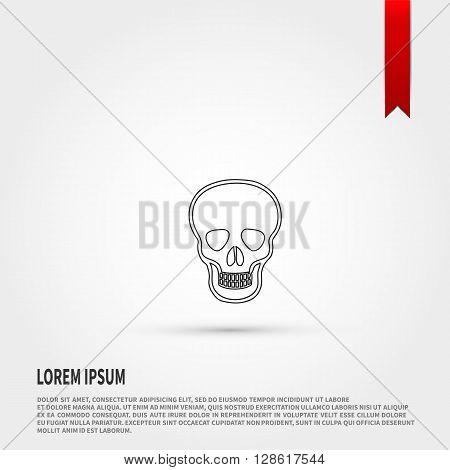 Skull Icon. Skull symbol. Danger concept. Flat design style. Template for design.