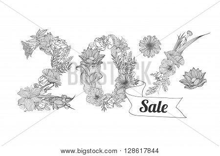 twenty (20) percents sale. Vector floral linear digits