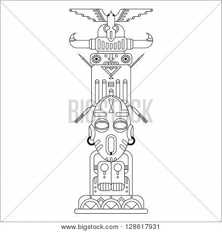 geometric black outline ethnic totem pole, vector illustration