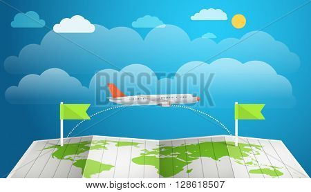 Flying aircraft vacation concept. Flat design illustration