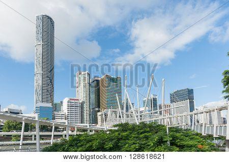 Brisbane, Australia - April 26, 2016: Brisbane city skyline and buildings and skyline from Kurilpa Pedestrian Bridge