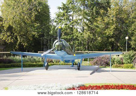 NIZHNY NOVGOROD, RUSSIA - AUGUST 28, 2015: Aircraft of World War II in the Kremlin.