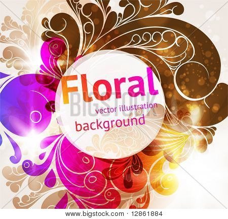 Element of ornament for retro and vintage design with leafs and flowers. eps 10