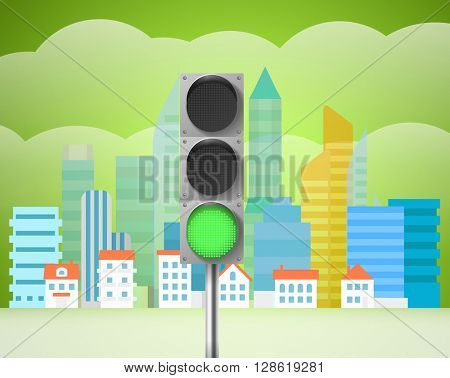 Cityscape with the traffic light. City trafic illustration