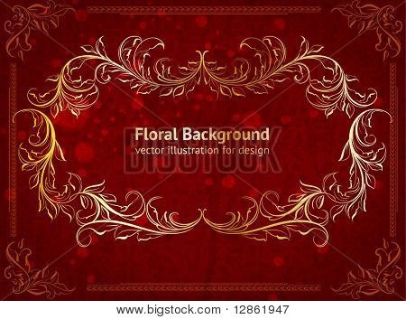 vector vintage golden label with floral frame at red seamless background with flowers and leafs for retro design. eps 10