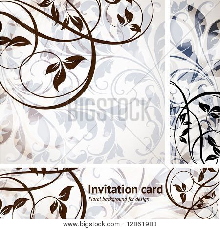 vintage invitation complete card set with seamless background with leafs and flowers for retro design. eps 10