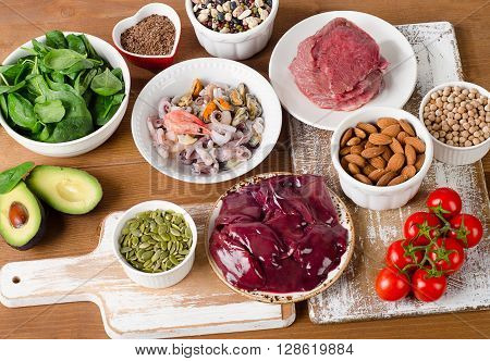 Foods With Zinc Mineral On Wooden Table.