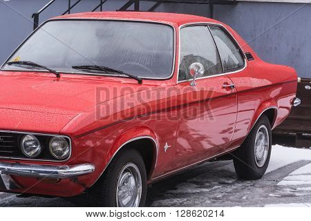 VELBERT NRW GERMANY - MARCH 07 2016: Oldtimer red Opel Manta in a public parking in Velbert Germany.