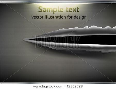 Einschußloch und Schrägstrich am Metall abstrakt Hintergrund für Techno Design. EPS 10