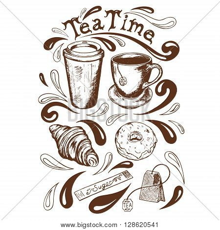 set of cup and saucer cup of takeaway coffee tea bag krousan donut with icing sugar and a bag of tea time lettering in a retro style