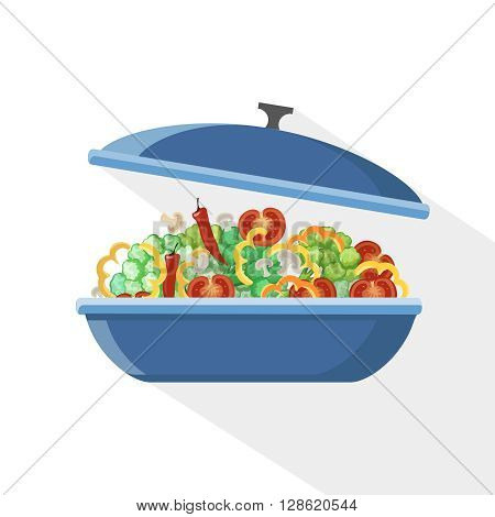Cooking pan saucepan kitchen food preparation illustration object pot cook.