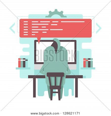 Funny programmer character is writing code on the computer at his work place