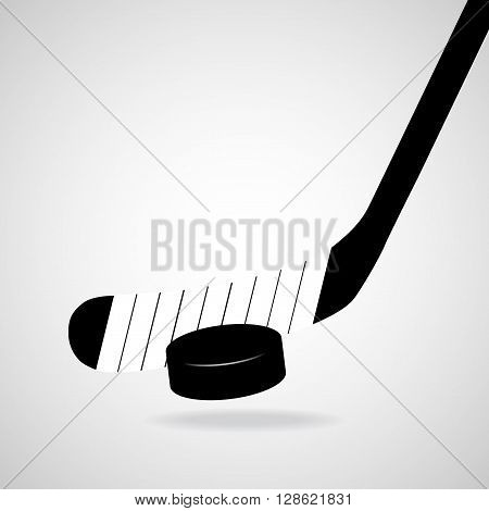 Hockey stick and puck, isolated on a white background, vector illustration, eps 10