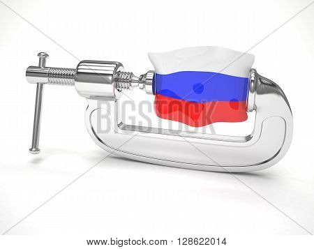 Russia's flag in clamp, crisis, sanction concept. 3d rendering.