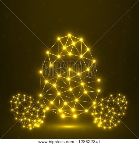 Abstract glowing Easter egg polygonal shape, network connections, vector illustration
