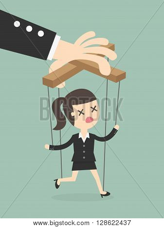 Business woman marionette on ropes controlled hand