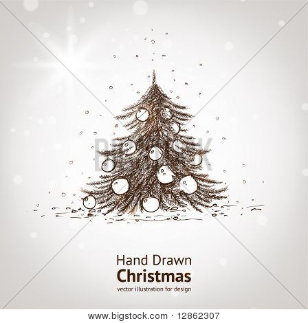 Christmas hand drawn fur tree for xmas design. With balls.
