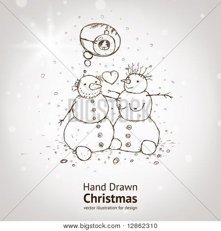 Christmas snowman. Hand drawn vector for xmas design with christmas ball, fur tree branch and heart.