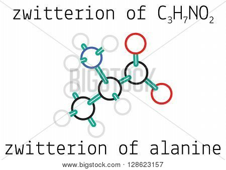 C3H7NO2 zwitterion of alanine 3d amino acid molecule isolated on white