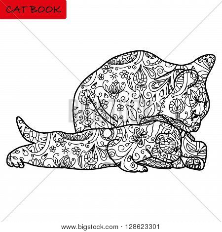 Cat mother and her funny kitten - coloring book for adults - cat book hand drawn illustration with patterns