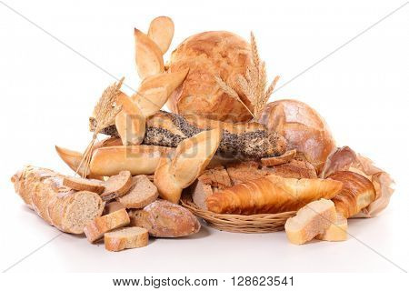 assorted bread isolated on white