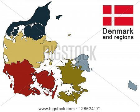 european country Denmark and detailed regions in different colors