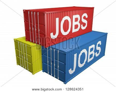 Shipping export containers labeled for job outsourcing, 3D rendering