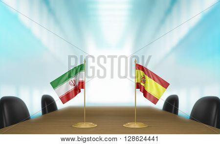 Iran and Spain relations and trade deal talks, 3D rendering