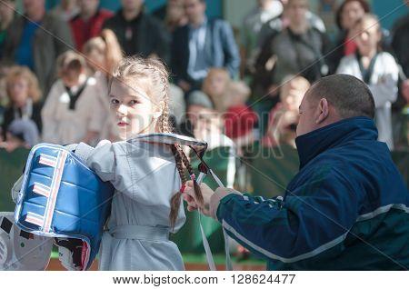 Orenburg, Russia - 23.04.2016: Taekwondo Compete Girls