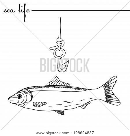 Sea life. The herring and fishing hook. Original doodle hand drawn illustration. Outlines vector
