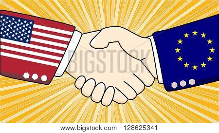 Handshake illustration between two diplomats one with a suit with USA texture one with the european flag texture