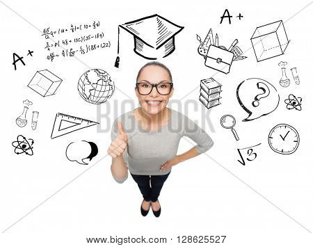 people, graduation, school and education concept - smiling asian woman showing thumbs up over doodles