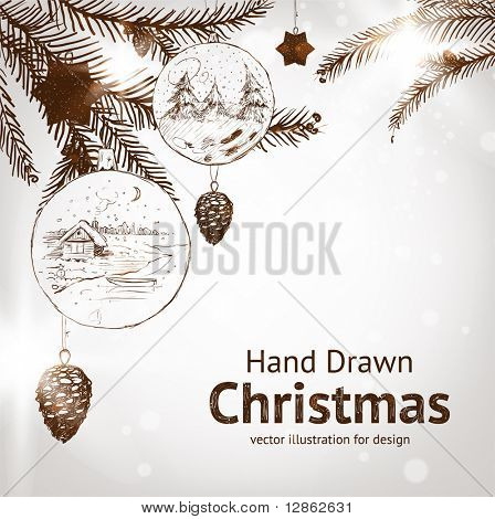 Christmas hand drawn fur tree for xmas design. With balls, toys and fir-cone