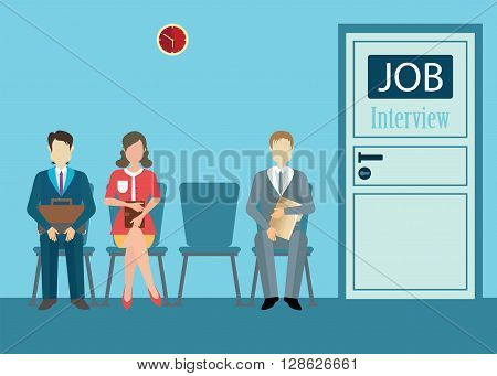 Business people with files sitting on chair front of a door for giving interview job interview conceptual vector illustration.