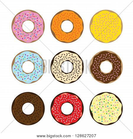 illustration donuts. Donuts with colorful glaze various pastry topping.