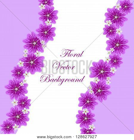 Floral vector background with beautiful violet mallows and white flowers for use in your design. Vector illustration.