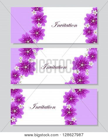 Set of horizontal banners. Floral vector background with beautiful violet mallows and white flowers for use in your design. Vector illustration.
