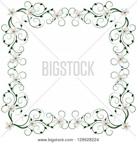 Delicate frame with floral pattern isolated on white background for greeting card or invitation design.