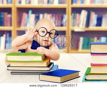 Baby in Glasses Read Books Smart Kid Early Development and Education Library Book Shelves
