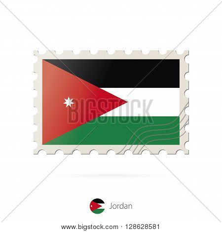 Postage Stamp With The Image Of Jordan Flag.