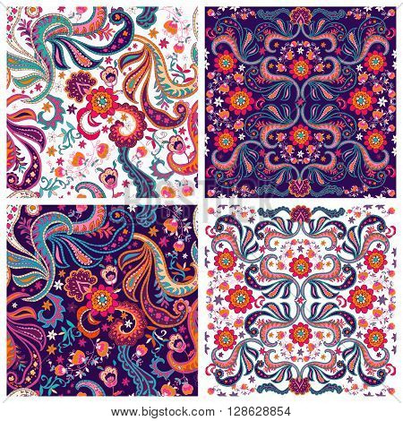 Set of traditional oriental seamless paisley patterns. Vintage flowers background. Decorative ornament backdrop for textile wrapping paper card invitation wallpaper web design. Isolated flowers and leaves. Vector illustration.
