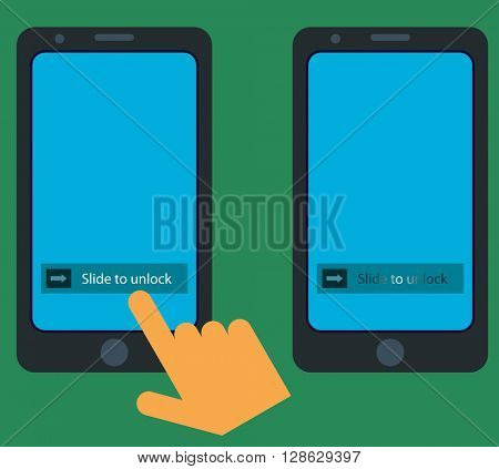 Smartphone Slide to Unlock Gesture raster Illustration