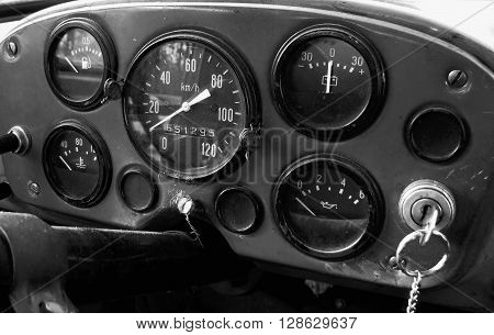 Dashboard in an old truck in black and white