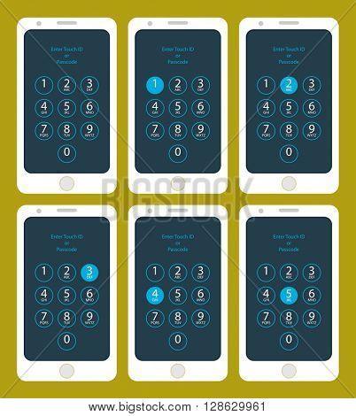 Smartphone Enter Touch ID or Passcode One,  Two,  Three,  Four,  Five,  raster Illustration