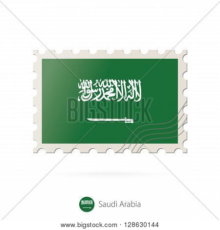 Postage Stamp With The Image Of Saudi Arabia Flag.