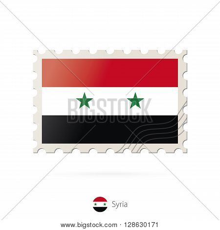 Postage Stamp With The Image Of Syria Flag.