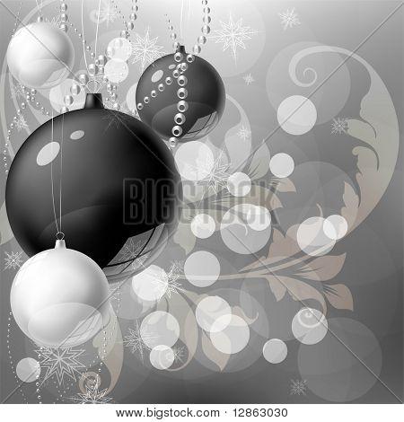 schwarz wei und silber weihnachten hintergrund weihnachten design mit weihnachtskugel. Black Bedroom Furniture Sets. Home Design Ideas