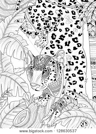 adult coloring page - gorgeous jungle leopard with headwear